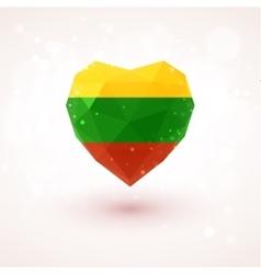 Lithuanian flag in shape diamond glass heart vector