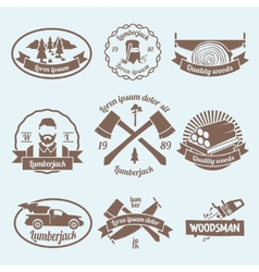 Lumberjack woodcutter label vector