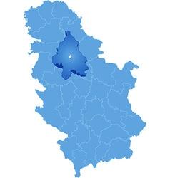 Map of Serbia Subdivision City of Belgrade vector