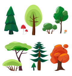nature elements collection game ui set of plants vector image