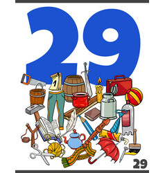 Number twenty nine and cartoon objects group vector
