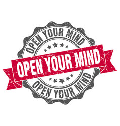 Open your mind stamp sign seal vector