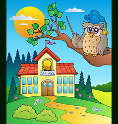 owl teacher with school building vector image