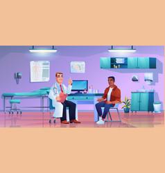 Patient listening to specialist in doctors office vector