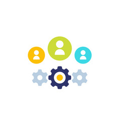 People and gears icon on white vector