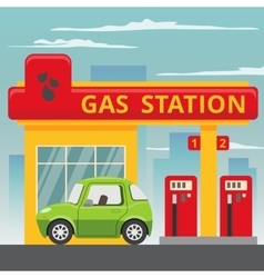 Petrol gas station concept in flat design style vector