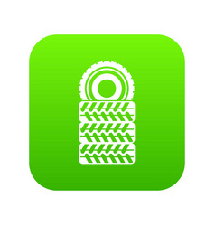 pile of tires icon digital green vector image