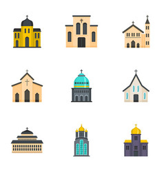 Place of worship icons set cartoon style vector