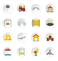 Playground set flat icons vector