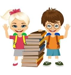 portrait of cute schoolboy and schoolgirlbooks vector image