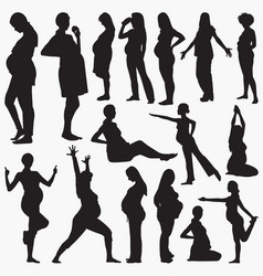 pregnant women activity silhouettes vector image