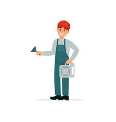 Professional auto mechanic character in uniform vector