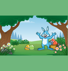 Rabbit on the forest with few of colorful easter vector