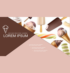 realistic ice cream colorful composition vector image