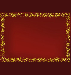 Red background with frame of golden leaves vector