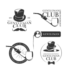 Retro gentleman club logos emblems labels vector