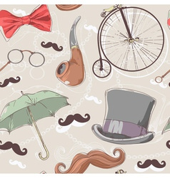 Retro seamless pattern with vintage objects vector image