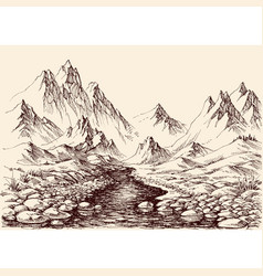 river flowing in mountains hand drawn alpine vector image