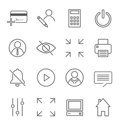 set 16 linear quality icons related to vector image