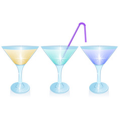 Set alcoholic cocktails isolated on white vector