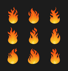 set isolated fire icon or danger burn sign vector image