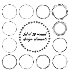Set of 13 round design elements vector image
