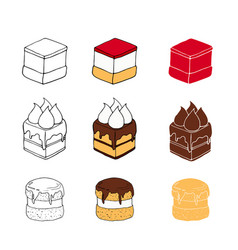 set of sweet cakes with different toppings vector image
