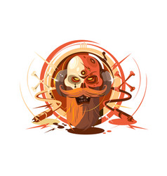 skull with beard on headphone vector image