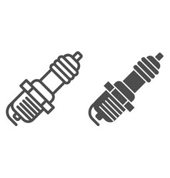 Spark plug line and glyph icon car candle vector