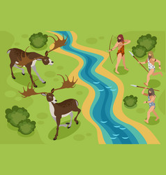 Stone age background vector