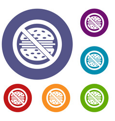 Stop fast food icons set vector