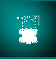 street signboard hanging on forged brackets icon vector image