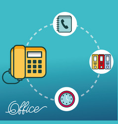 telephone clock binders folder office vector image