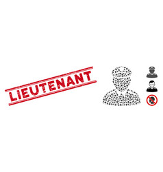 Textured lieutenant line seal with mosaic colonel vector