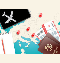 Travel accessories vacation concept with pins vector