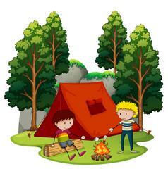 Two boys camping in the forest vector