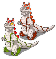 Two stone statues of dinosaurs with a red crest vector