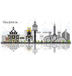 valencia spain city skyline with color buildings vector image