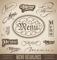 Vintage menu headlines vector