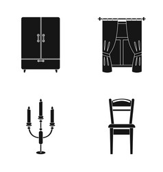 wardrobe window with curtains candlestick chair vector image