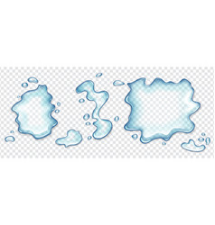 Water spill puddles or spilled water top view set vector