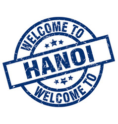 Welcome to hanoi blue stamp vector