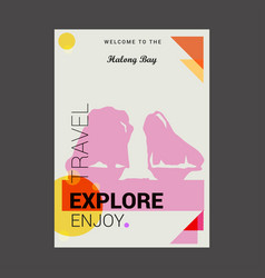 welcome to the halong bay ha long vietnam explore vector image