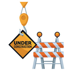 White background with traffic barrier and crane vector
