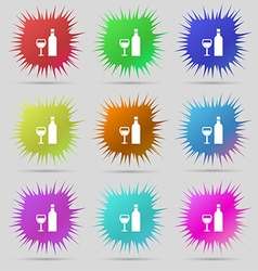 Wine Icon sign A set of nine original needle vector