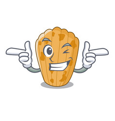 Wink cake madeleine french isolated on mascot vector