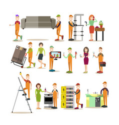 worker people flat icon set vector image