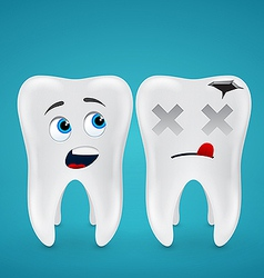 Healthy teeth and dead vector image