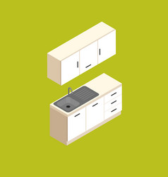 isometric small kitchen furniture vector image