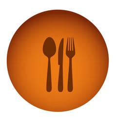 orange emblem metal cutlery icon vector image
